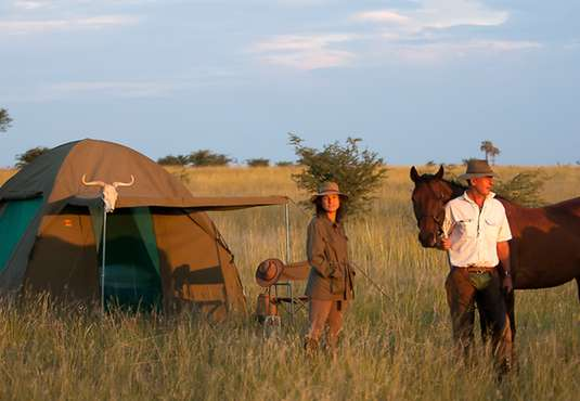 Fly camping, Makgadikgadi salt Pans, Botswana