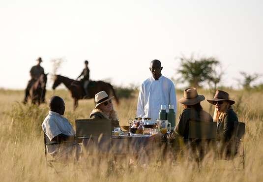 Tea break on a Botswana private safari