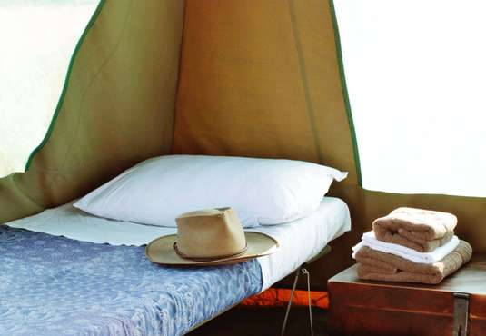 Fly camp tent interior