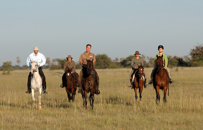 Cantering on a Kalahari horseback ride