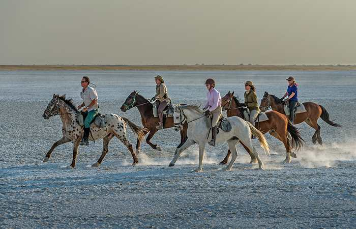 Horse riding on Makgadikgadi Pans