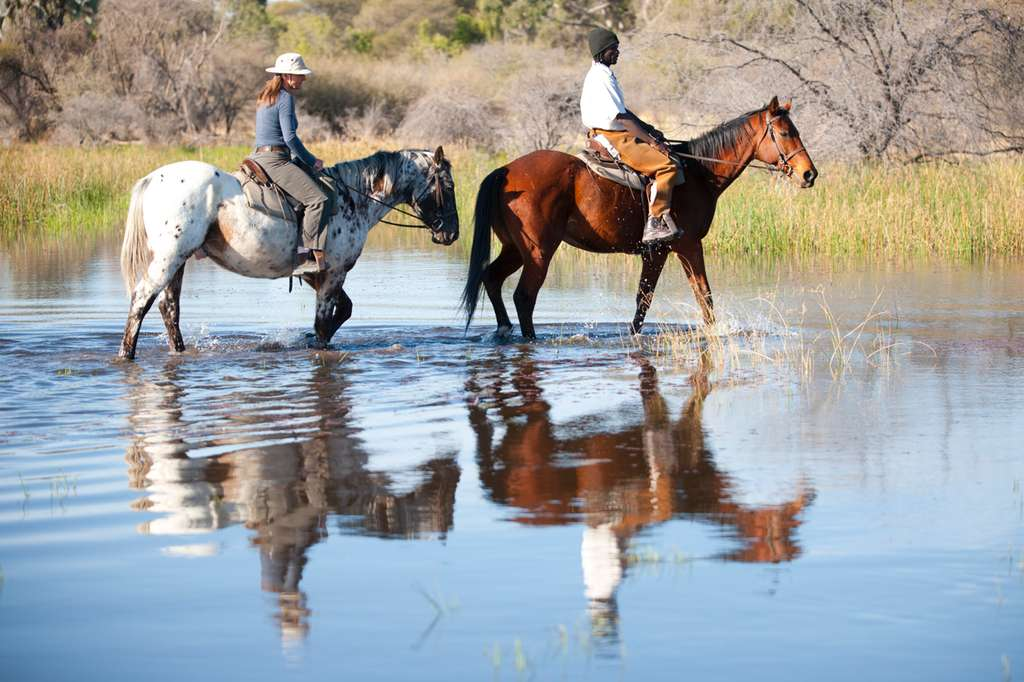 Crossing the Thamalakane River on horseback