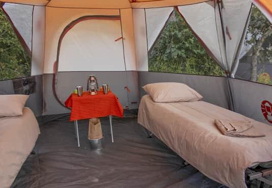 Mobile safari tent interior