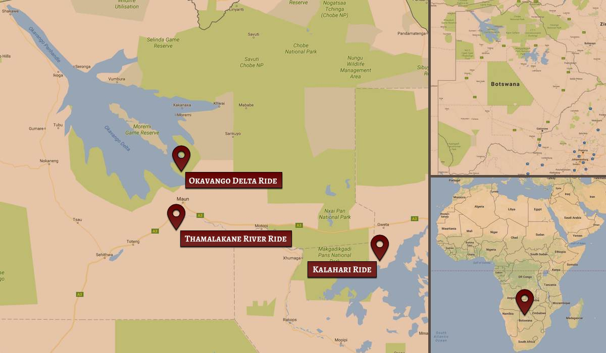 Location map of Ride Botswana safaris